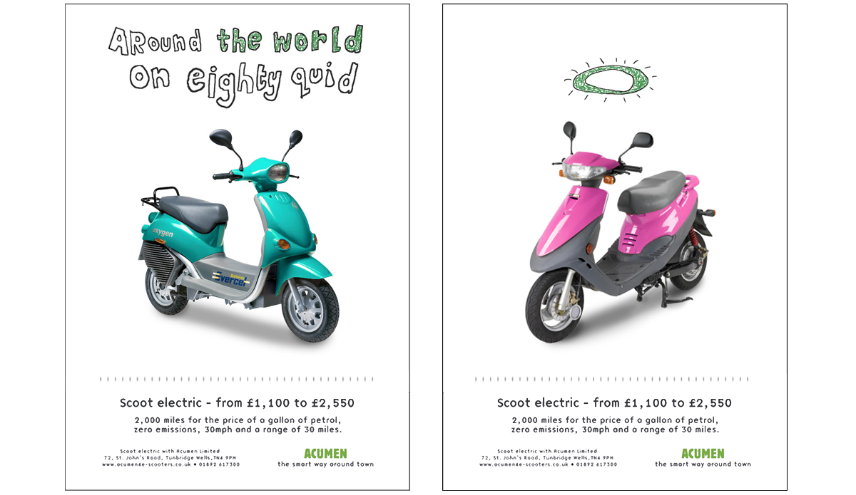 Scoot Electric '80quid & Halo' – Concepts, copywriting and art direction.
