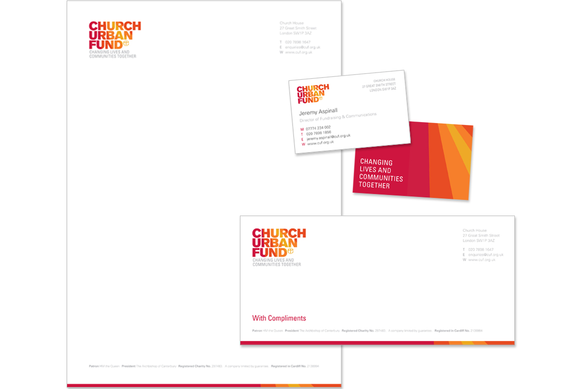 Church Urban Fund stationery design – copywriting and creative direction