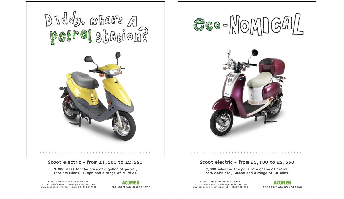 Scoot Electric 'Daddy & Nomical' – Concepts, copywriting and art direction.