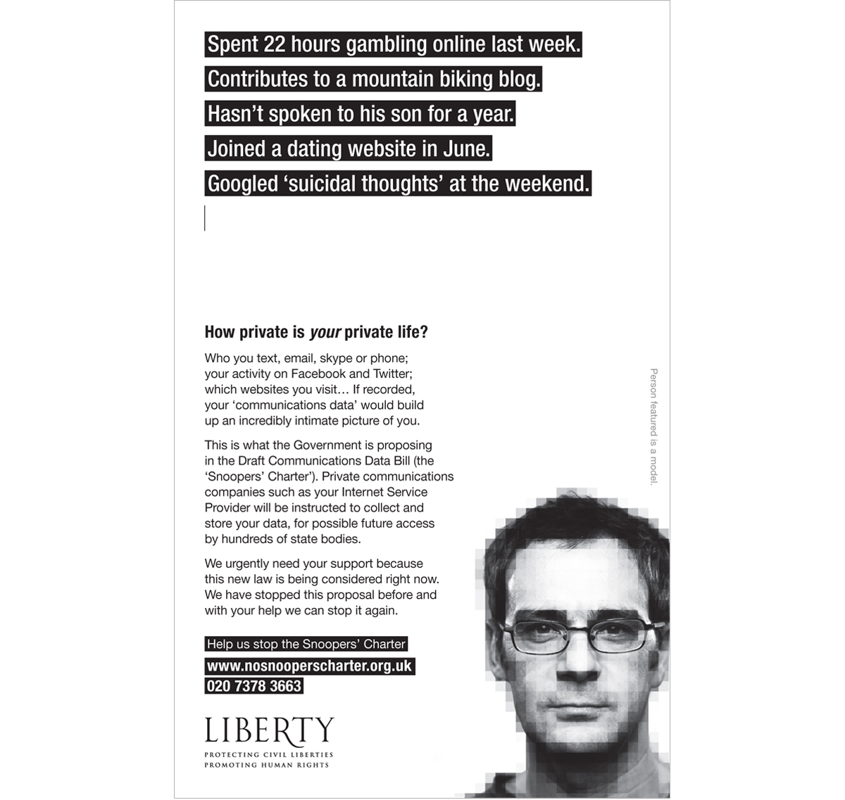 Liberty The Guardian press advertising – Copywriting, Art Direction and Creative Direction