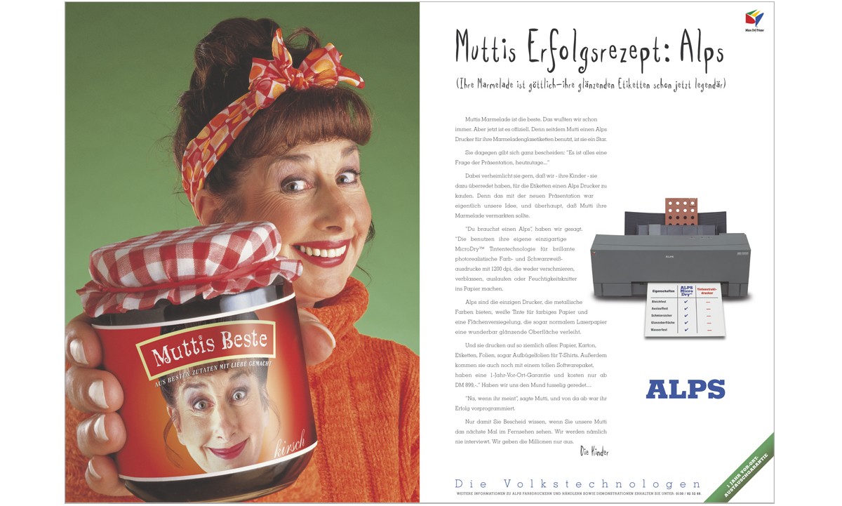 Alps Printers international consumer press advertising Mutti – concepts, copywriting and art direction