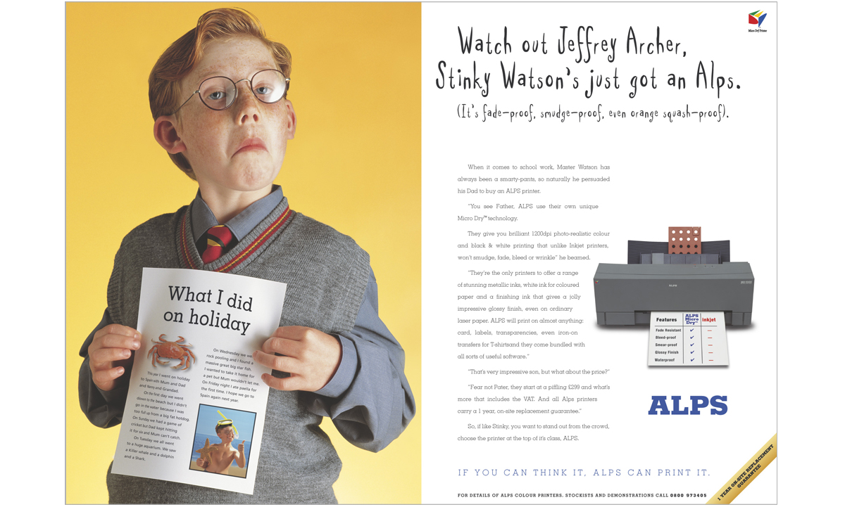 Alps Printers international consumer press advertising Stinky Watson – concepts, copywriting and art direction