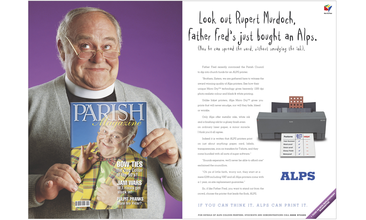 Alps Printers international consumer press advertising Vicar – concepts, copywriting and art direction