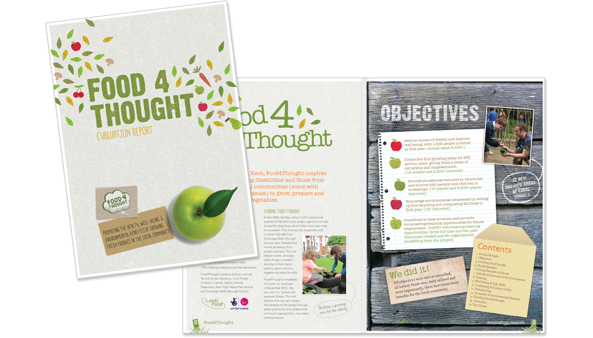 Food For Thought Impact Report FC and spread – copywriting, art direction and creative direction