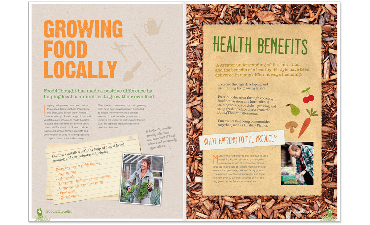 Food For Thought Impact Report spread 1– copywriting, art direction and creative direction