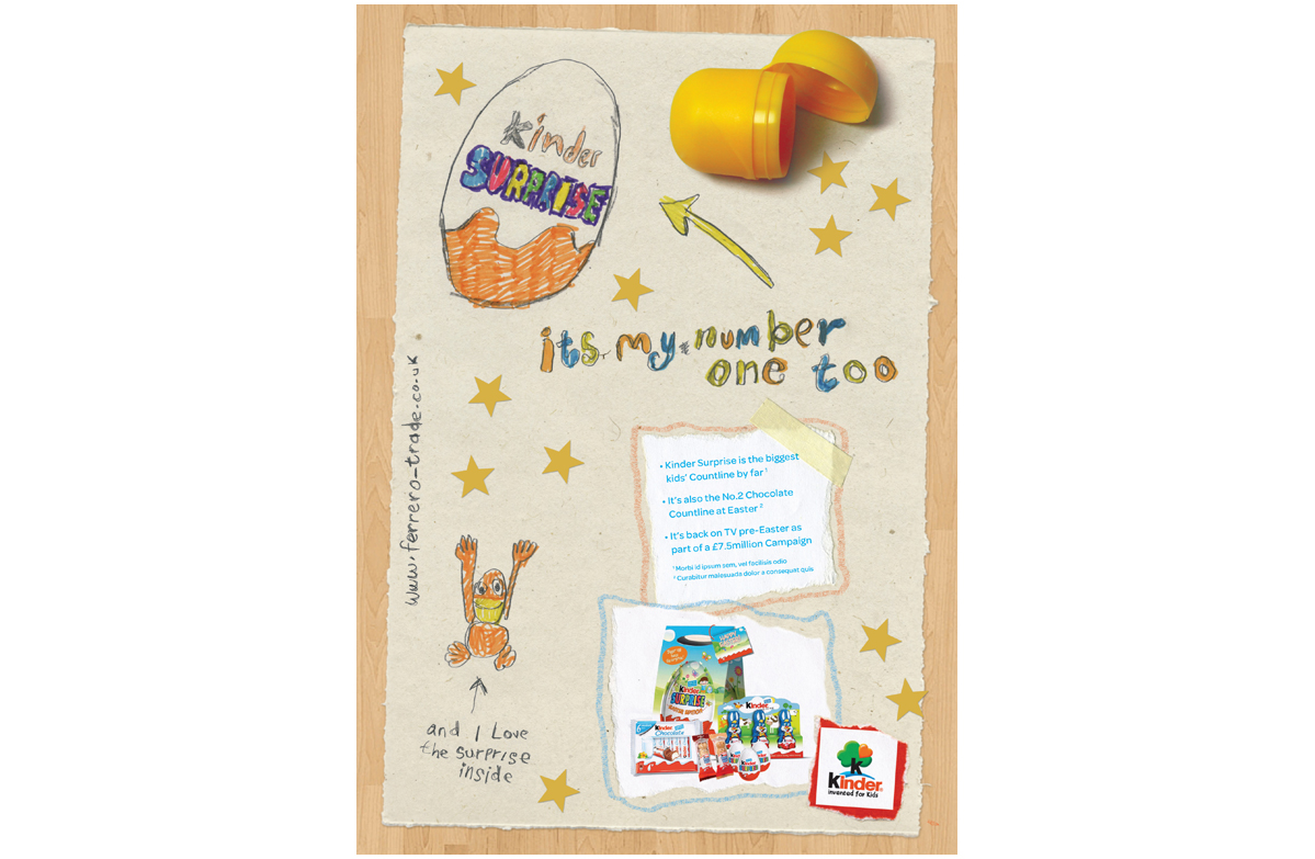 Kinder surprise trade press advertising 3 – concepts, copywriting, illustration and creative direction