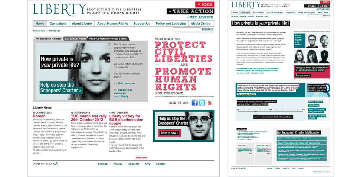 Liberty Web pages – concepts, copywriting, art direction and creative direction