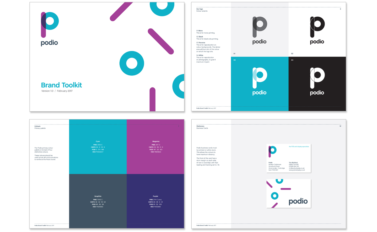 Podio brand design guidelines – brand name generation, copywriter and creative director