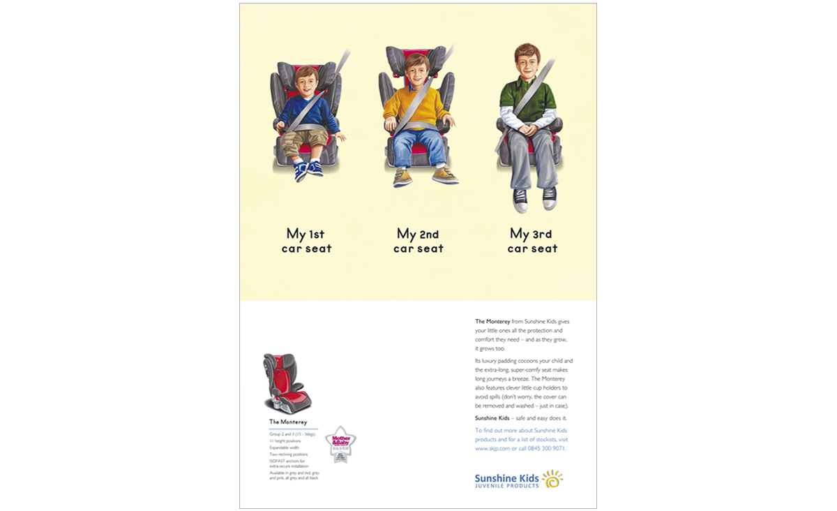 Sunshine Kids consumer press advertising MY CAR SEAT – concepts, copywriting, art direction and creative direction