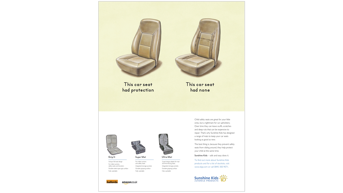 Sunshine Kids consumer press advertising SEAT PROTECTION – concepts, copywriting, art direction and creative direction