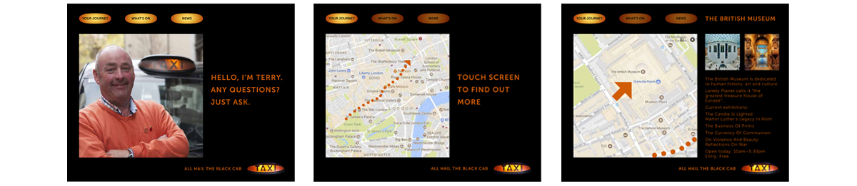 Black Cabs – Integrated advertising creative campaign in-cab interactive screen 2