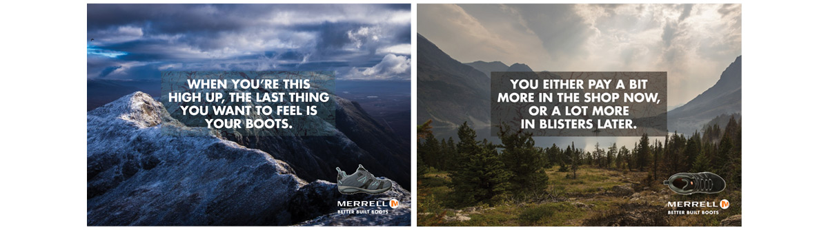 Merrell 2 advertising concepts and copywriting – Jonathan Wilcock
