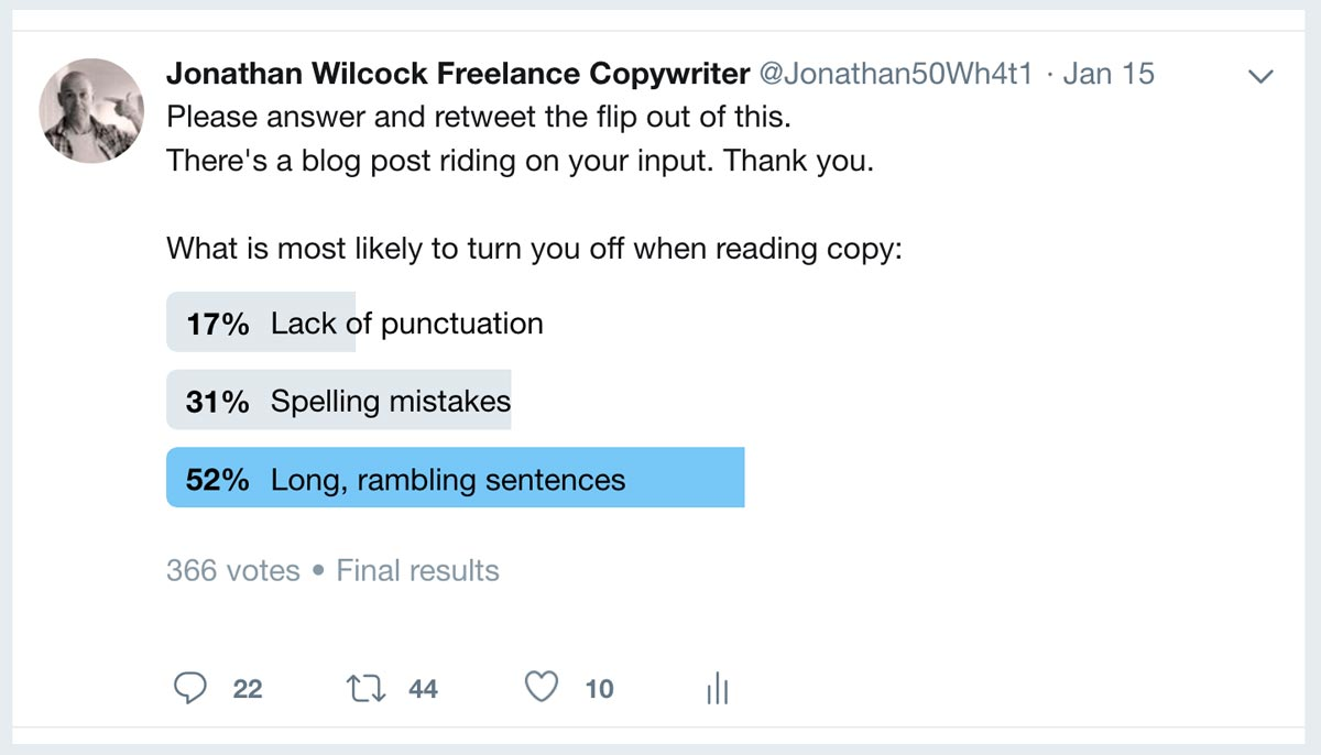 Rubbish Copywriting Final Poll Results – Freelance Copywriter Jonathan Wilcock